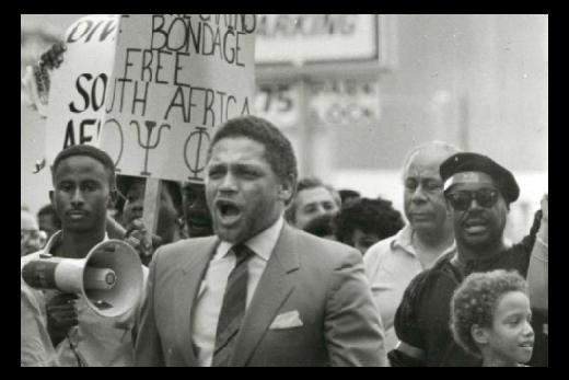 Mickey Leland marching against apartheid