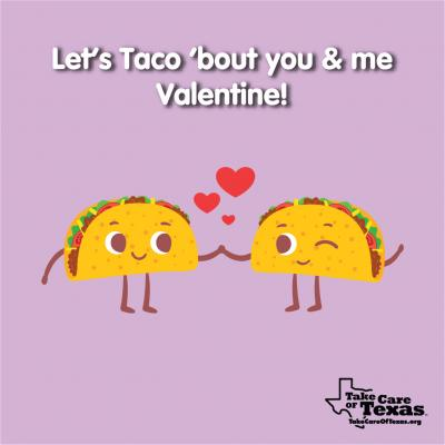 Two tacos holding hands while winking