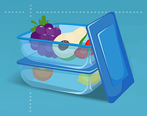 Reusable Containers with food graphic